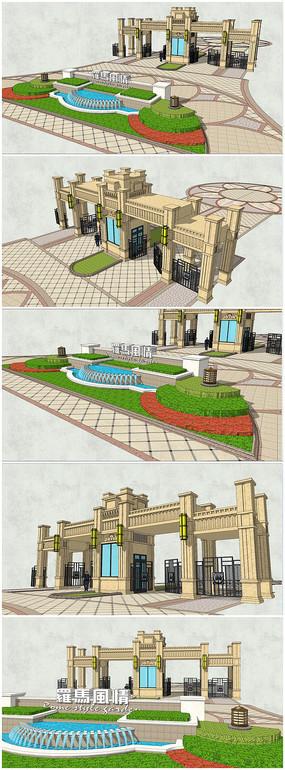 罗马风情入口大门景观SU模型