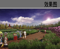 某河景观湿地公园栈道效果图