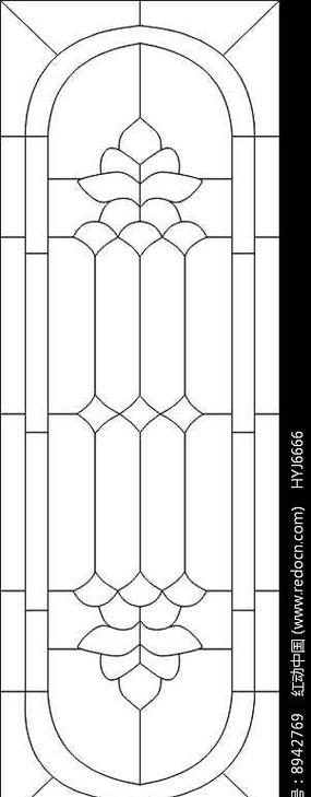 对称花纹教堂图雕刻图案