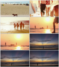 海边休闲玩耍视频