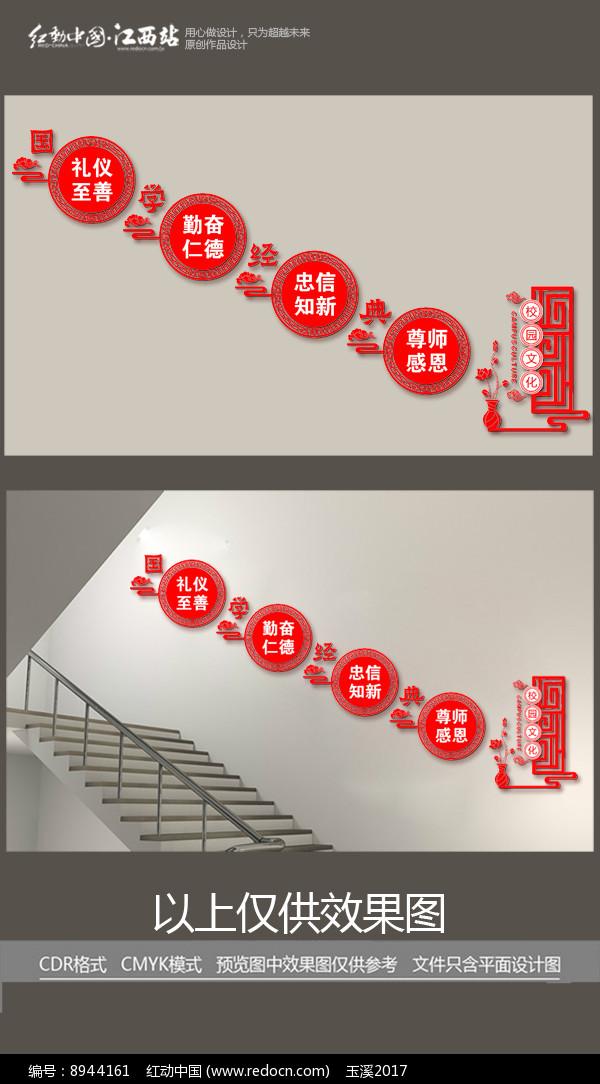 红色国学经典楼梯文化墙图片