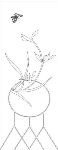 兰花蝴蝶图雕刻图案