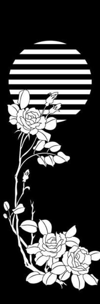 牡丹花开雕刻图案
