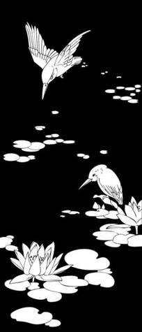 鸟觅食雕刻图案 CDR