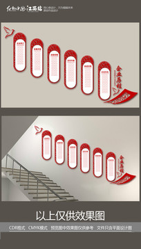 企业历程楼梯文化墙文化