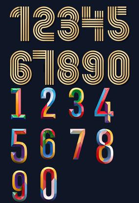 时尚线条数字彩色文字字体