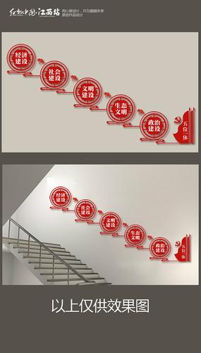 五位一体楼梯文化墙
