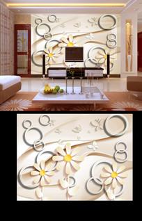 现代3D圈圈立体菊花背景墙