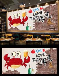 香辣蟹美食背景墙