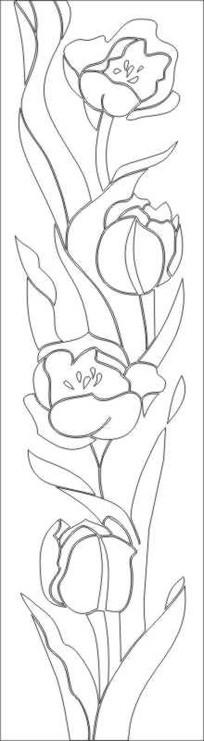 郁金红花雕刻图案