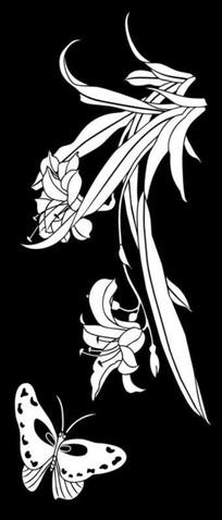 紫百合蝴蝶雕刻图案