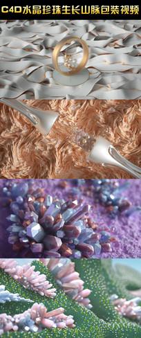 C4D水晶珍珠生长山脉视频