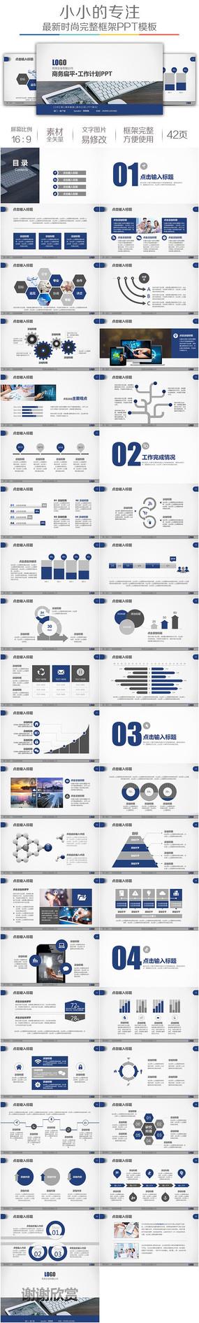 蓝色商务工作计划项目汇报PPT模板