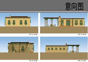 民族特色村庄建筑设计立面