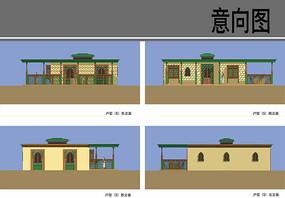 民族特色村庄建筑设计立面图