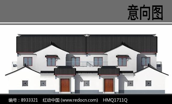 苏州园林风格乡村住宅立面图图片