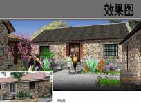 乡村传统建筑改造设计透视图 JPG