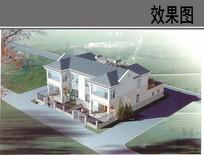 乡村独栋别墅设计鸟瞰图