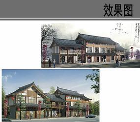 乡村商业街中式建筑效果图