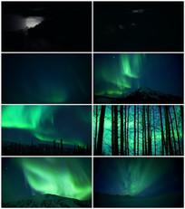 夜晚唯美北极极光视频