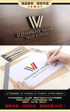 W字母彩色LOGO设计