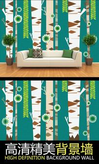 北欧手绘树林艺术电视背景墙