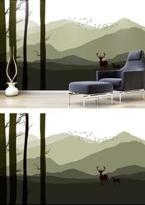 北欧现代飞鸟森林富贵鹿背景墙