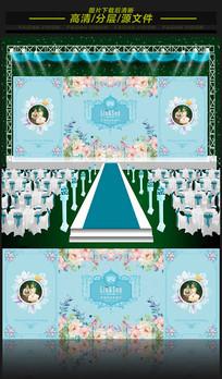 蒂芙尼水彩花鸟婚礼舞台背景板