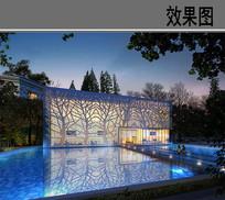 方形透明玻璃创意建筑效果图