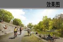 国外河岸自行车道效果图