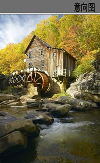 河边木屋流水车
