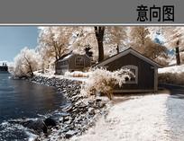 河边木屋美景
