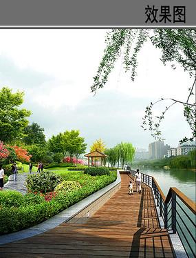 河边木栈道景观