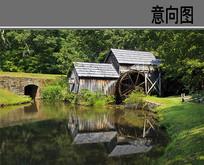 河水边的木屋