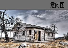 荒野中废弃的木屋