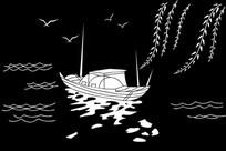 柳枝小船雕刻图案
