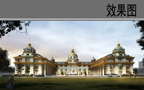 欧式广场建筑效果图