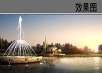欧式喷泉景观 PSD