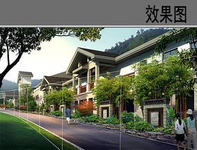 商业区建筑景观效果图 PSD