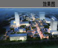 世界城市试验区建筑夜景鸟瞰图