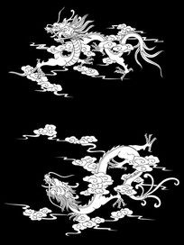 双龙腾云雕刻图案
