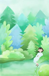 树林插画PS分层素材