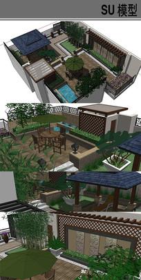 休闲小庭院模型