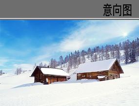 雪坡上的木屋
