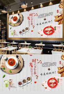 茶餐厅下午茶背景墙