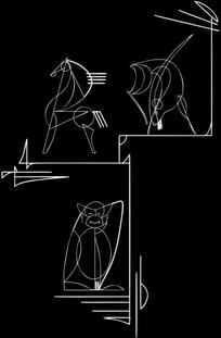 抽象马图雕刻图案