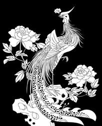 凤凰牡丹雕刻图案 CDR