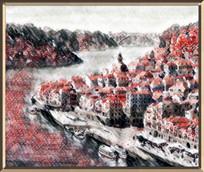 海港水墨画