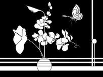 花瓶蝴蝶雕刻图案