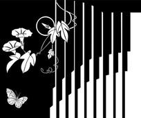 喇叭花蝴蝶雕刻图案